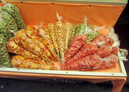 Various kinds of spiced nuts.