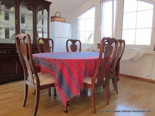 The Aunt Mabel dining table and chairs, downsized to seat six.  Tablecloth from Guatemala. Thank you shopping countries, for keeping me sane in a Drexel world...