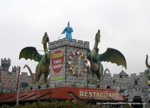 A spectacular duty-free mall on the Czech side of the border. (This was a shoot-on-sight no man's land in Communist times.) Giant dragons, dinosaurs, wizards, Vikings, hookers, and a restaurant inside a full-sized parked airplane. Awesome, in its way.