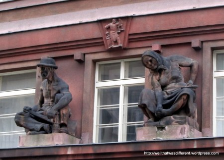 Happy workers on the facade of STB HQ.  This is pretty classic socialist art, actually. I'm glad they leave it around.
