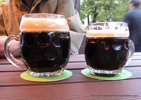 Man Beer and Girlie Beer at the Strahov monastery brewery.  It tasted even better than it looks.