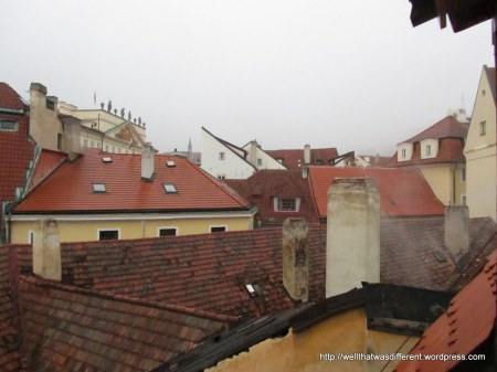 Prague rooftops from our hotel window in Mala Strana.