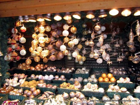 There are regular retail ornaments mixed with beautiful handmade ones which are not cheap!