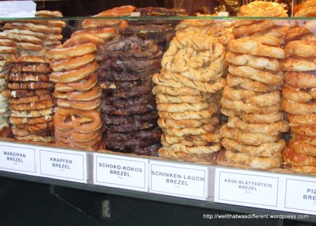 "Every kind of pretzel, including ""krapfen"" which is cinnamon sugar and not nasty at all."