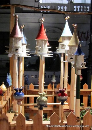 Insanely expensive but very artistic bird houses at Am Hof.