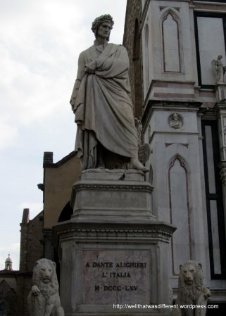 Dante Aligheri looking pretty badass outside of Chiesa Santa Croce.