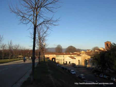 The 16th century walls around Lucca are now a park that goes around the entire town.