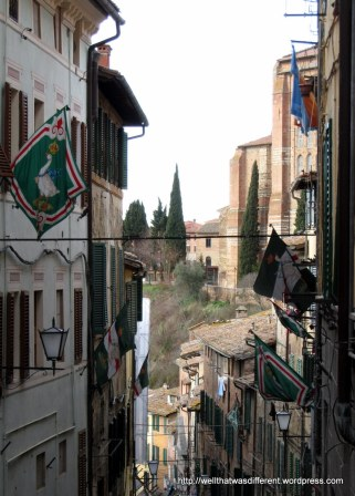 Contrade flags flying high above a steep street.