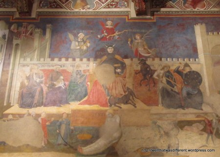 Inside the Palazzo Civico: fresco showing the seven sins (I think) plus Beelzebub himself.
