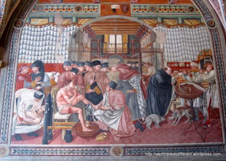In the Ospedale Santa Maria della Scala--15th century fresco depicting medical care of the time.