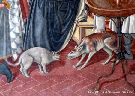 Detail from the same fresco.  Love the bushy cat tail.