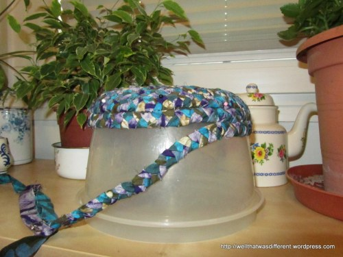 Sew the strips together to make a basket. It can be helpful to drape it over a bowl shape to get the bend just right.