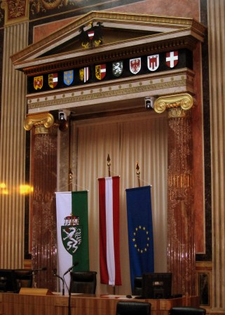 The budget hall (I think) in which the current Austrian provinces argue over money.