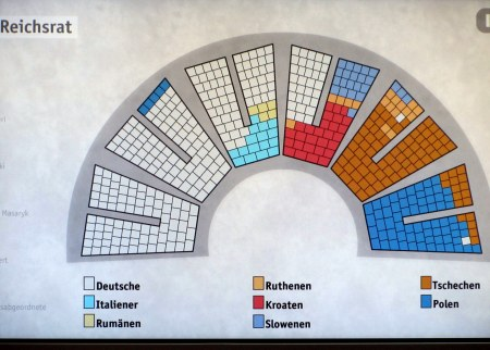 Seat chart showing where the different languages were grouped in the hall.