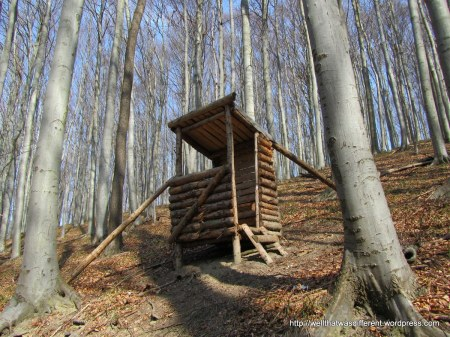 "A ""hutte"" along the trail. I am not quite sure what these are for.  Maybe a place to stay out of the rain?"