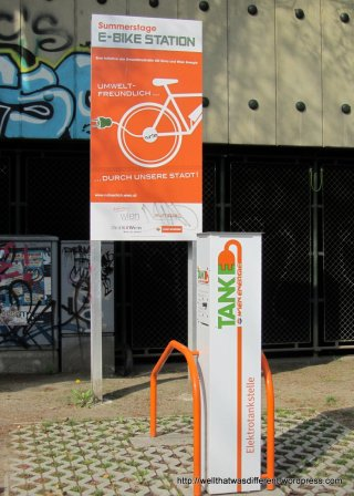 Charging station for electric bikes.