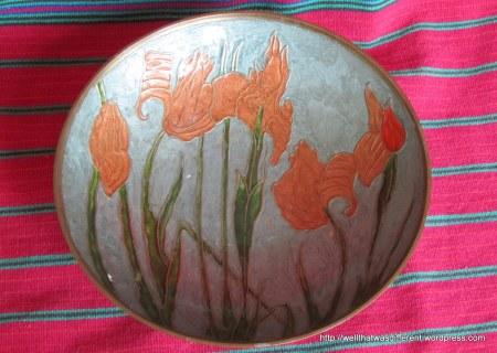 Copper and enamel fruit bowl.