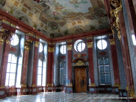 Baroque drawing room in the guest quarters at the abbey.