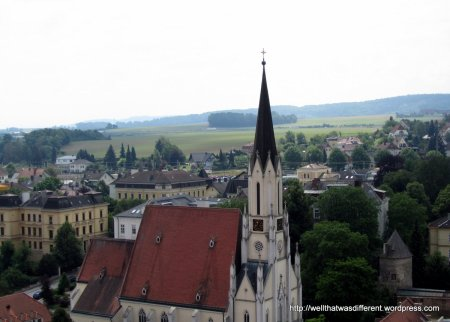 Another view from the abbey terrace over the town of Melk.