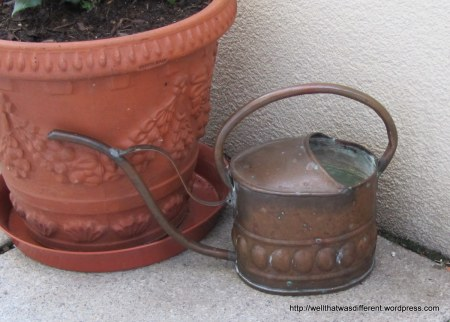 Thrift alert: got the neat little copper watering can at Caritas.
