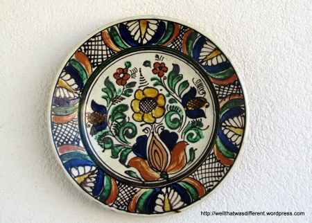 """Another thrift shop plate--this is one is big, about 14"""" wide."""