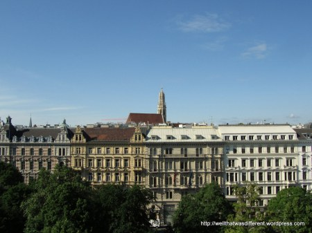 Great view over the park into the old town part of Vienna.