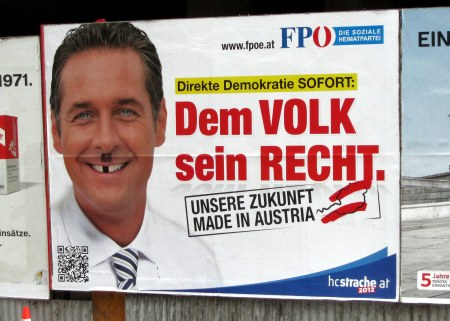 The FPO, or Freedom Party of Austria, is the idealogical descendant of the Nazis. In 2011, it was polling at about 25 percent nationally. Many of the posters have been scribbled with Hitler mustaches or swastikas, so clearly a lot of people (in Vienna, anyway) are not buying what they are selling. But the fact that this party could even be politically viable here is creepy as heck.