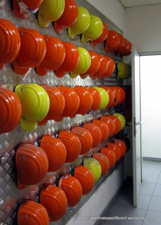 A place for everything, even the hardhats in the break room.