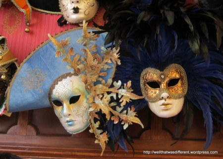 More carnival masks--these are more the tourist variety, but still papier-mache made in Italy (there are plastic ones that are not.)