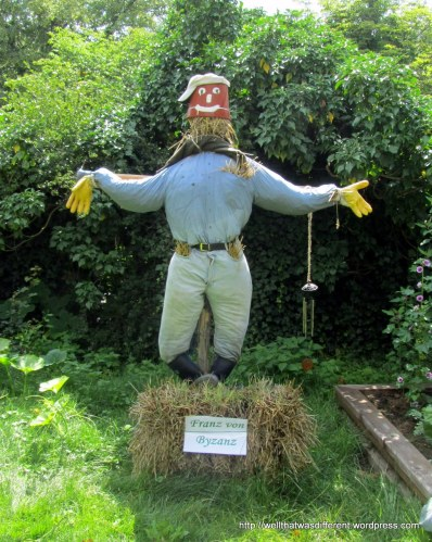 Franz the Byzantine guards the demonstration garden.