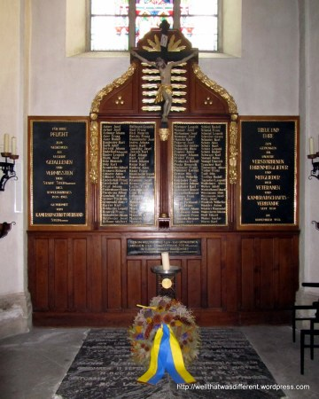 Memorial to WWII dead in the church.
