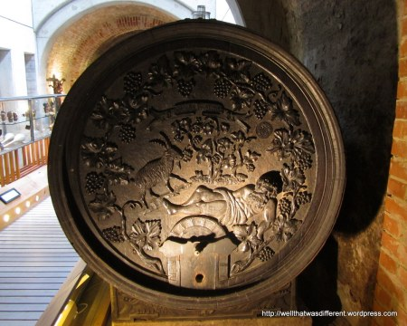 In the city museum: beautifully carved wine barrels.