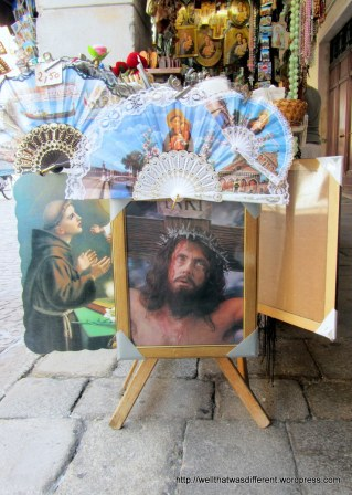 "Ever see the movie ""Born in East L.A.?""  Remember the Jesus with the 3D eyes that talked to Cheech Marin's idiot brother? Yep, you can buy one of those in Padova. We went for the frilly St Anthony fans instead--which were truly a gift from God at 4 Euros a pop."