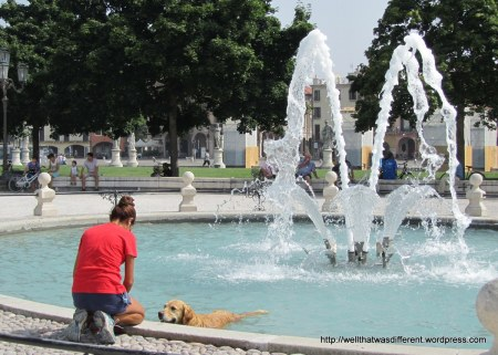 It was HOT and there was at least one dog in every fountain. Oh, to be a dog.