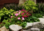 Raised beds made with scrounged rocks.