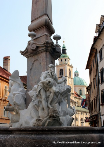 Baroque fountain in the town square.