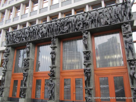Communist-era Parliament building with an impressive doorway.