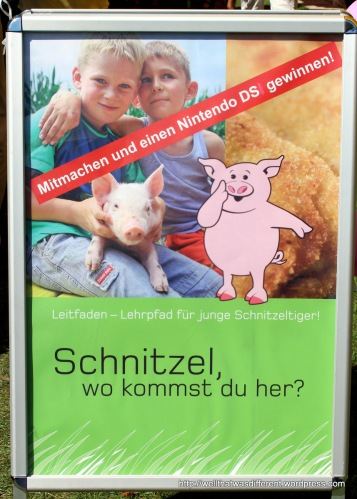 "There was a big section of kids' activities including this exhibition about ""Schnitzel: how did you get here?""  Not too graphic, thankfully."