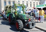 A tractor pulling a float.