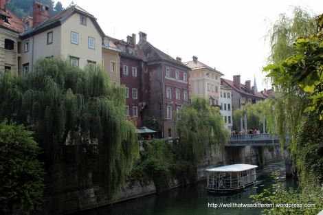 The Ljubljanica river from a riverside cafe.