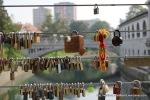 Locks on one of the river's bridges.