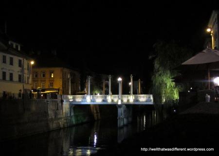 A bridge at night.