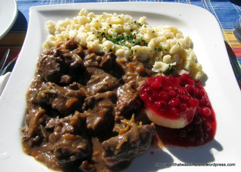 Wild boar ragout with spaetzle, preiselbeeren, and a beer at The Brown Bear gasthaus. Hey, we earned it :)