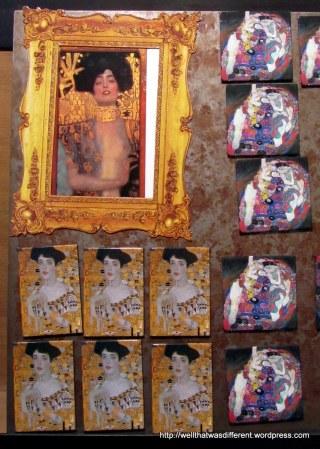 """Klimt refrigerator magnets in the """"Klimt shop."""""""