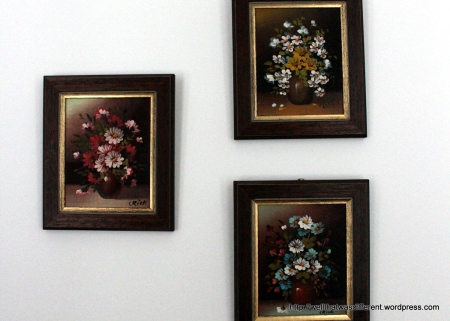 I always browse through the ugly art at the thrift store.  My husband hates these little hand-painted pictures, but I think they are cute. And anyway, we have a LOT of white wall in this apartment that needs color.
