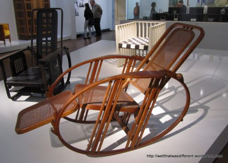 The Wiener Werkstatte did some cool, forward-thinking furniture. If you look close you can see that this is the Barca-lounger of wicker rockers.  Everything is both handcrafted and cleverly adjustable. Art with the left side of the brain!