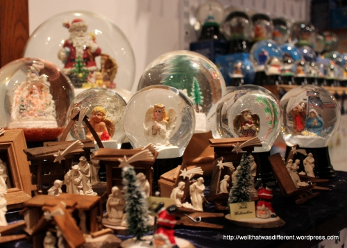 More Christmas globes, with a side order of creches.