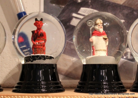 Krampus and St. Nikolas, der Weinachtsmann. These came home with me.