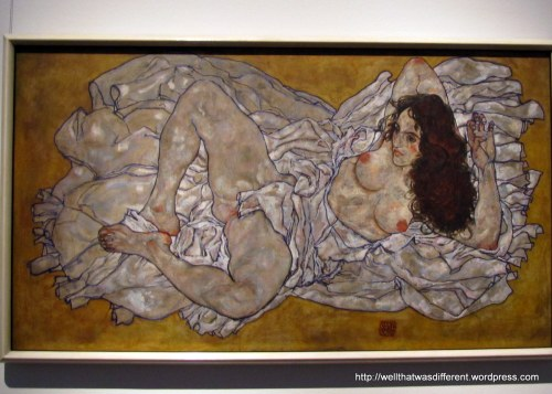 A Schiele nude.  Kinda bawdy, but still beautiful in its way.