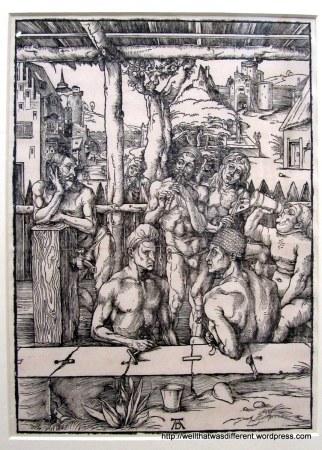 Durer drew naked men in a bathhouse.